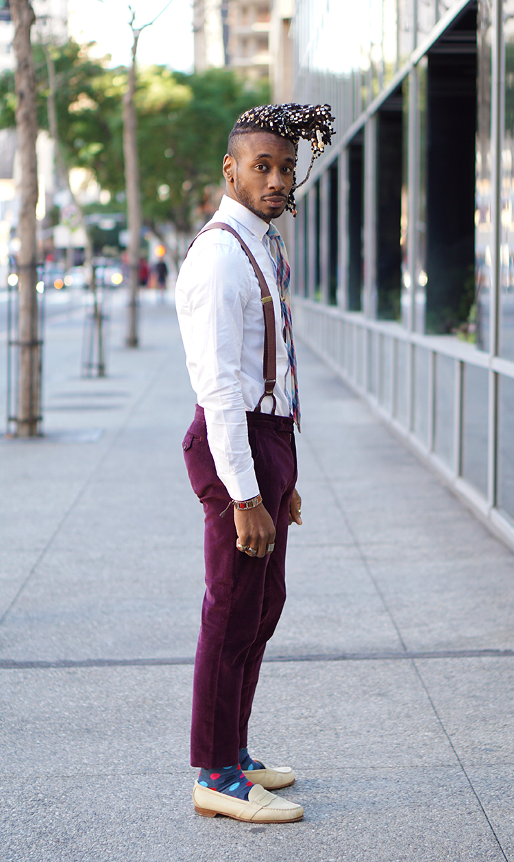 3462c9de6b I kept my look pretty simple today with a white fitted dress shirt paired  with a plaid necktie. The velvet vintage dress pants matches the suspenders  almost ...